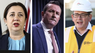 Complicated picture: Queensland Premier Annastacia Palaszczuk, WA Premier Mark McGowan and Victoria Premier Daniel Andrews.