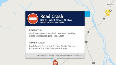 A Main Roads notification of the crash.