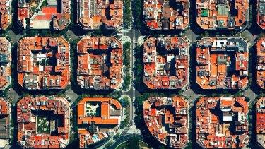Placa de Tetuan, a major square located in the Eixample district of Barcelona, Spain.