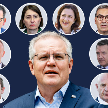 National cabinet comprised Prime Minister Scott Morrison, and state and territory leaders clockwise from bottom left: Mark McGowan (WA), Andrew Barr (ACT), Daniel Andrews (Vic), Gladys Berejiklian (NSW), Annastacia Palaszczuk (Qld), Steven Marshall (SA), Michael Gunner (NT),  Peter Gutwein (Tas).