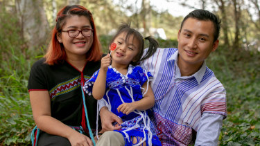 Eh Ker Ler (Jack), 27, and his wife Naw Be Law Lat with their daughter Evelyn. They are two refugees who are part of a new social enterprise called Harmony Cleaning. Airbnb will promote the cleaning enterprise to promote fair pay and conditions.