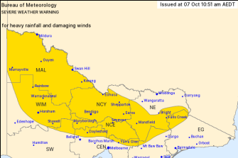 A severe weather warning issued by the Bureau of Meteorology on Wednesday.