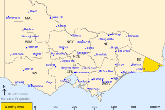 The Bureau of Meteorology has issued a severe weather warning for heavy rain in East Gippsland.