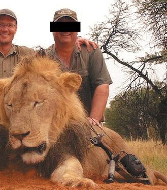 American dentist and big-game hunter Walter Palmer poses with the corpse of a lion.