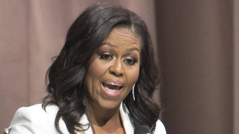 Former first lady Michelle Obama speaks.