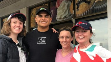 Latrell Mitchell and theWhitington family in Tuncurry.