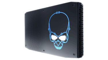 The NUC Hades Canyon is powerful enough for gaming or VR, as the glowing skull would indicate.