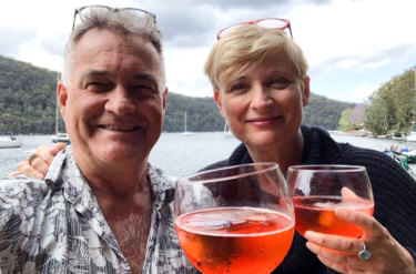 Dave Berry and Diana Robins in a recent picture on their pontoon at Cottage Point.