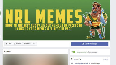 The NRL Memes page, which has been removed from Facebook.