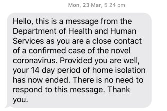A screenshot of the text message Erin Hughes received from Victoria's health department.