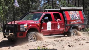 The Ford F250 in a Variety charity event before being stolen.