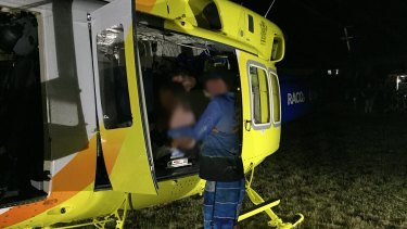 A child was airlifted to hospital after a dingo bit him on the leg in on Fraser Island, Queensland.