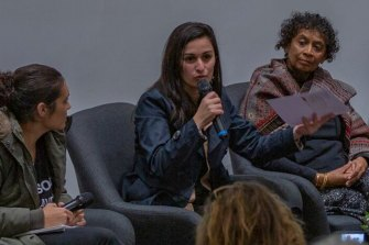 Shatha Safi speaks at the Black-Palestinian Solidarity Conference held at Melbourne University in November 2019.