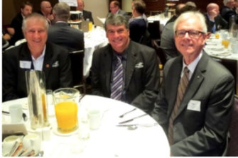 Moreton Bay councillor Mick Gillam, mayor Allan Sutherland and Greg Hoffman at a Property Council event in 2015.