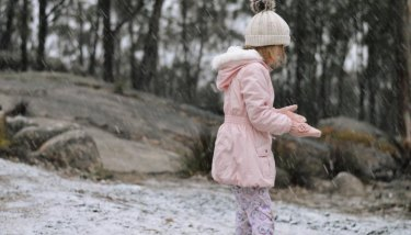 Caitlin Lancaster playing in Queensland snow on Tuesday.