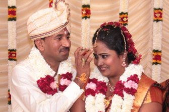 Priya and Nades at their wedding in 2014. The couple met in Australia.