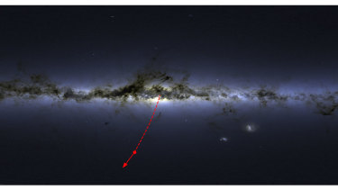 This map shows the projected path of the star out of the Milky Way.