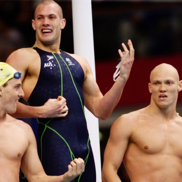 Australia's 4x100m relay team of Chris Fydler, Ashley Callus, Michael Klim and Ian Thorpe celebrate their Sydney Olympic Games gold medal.