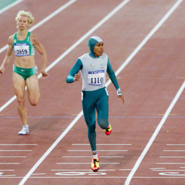 Cathy Freeman crosses the line first in the 400m on September 25, 2000.