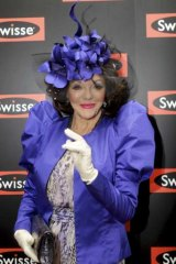 2011 Spring Racing Carnival: Actress Joan Collins in the Swisse marquee on Oaks Day at Flemington.