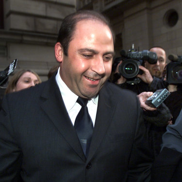 Nicola Gobbo all smiles next to her client, drug kingpin Tony Mokbel, after she won bail for him in 2002.