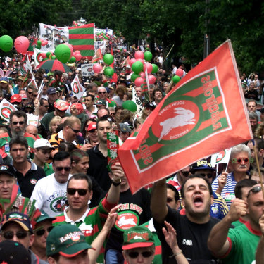 Fans in full voice ... the protest to reinstate the Rabbitohs.