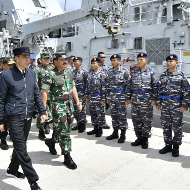 Indonesian President Joko Widodo inspects the navy ship KRI Usman Harun at Selat Lampa Port on the Natuna Islands in January 2020.