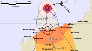 Current track map for Cyclone Damien.