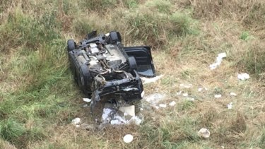 A man was taken to the Princess Alexandra Hospital in a critical condition after a single vehicle crashed down an embankment at Augustine Heights.