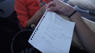 The Garuda handwritten menu as shown in Rius Vernandes' video blog on YouTube.