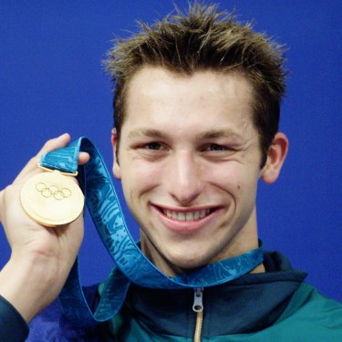 Ian Thorpe celebrates his first Olympic gold medal in the 400m freestyle.