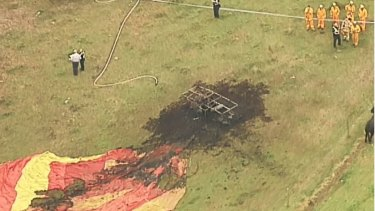 A hot-air balloon caught fire as it was taking off in the Yarra Ranges north-east of Melbourne.