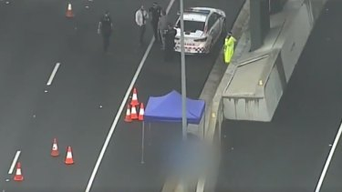 The scene on the Logan Motorway after the incident on Thursday morning.