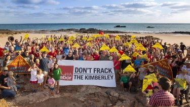 Protesters in Broome react to the fracking decision by the WA government.