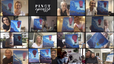 Atlassian team members including Mike Cannon-Brookes (bottom right) and Scott Farquhar (second from bottom left) participate in a painting class over Zoom.