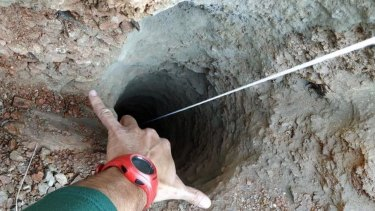 A toddler fell down this 100 metre-deep borehole in the town of Totalan in Malaga, southeastern Spain.