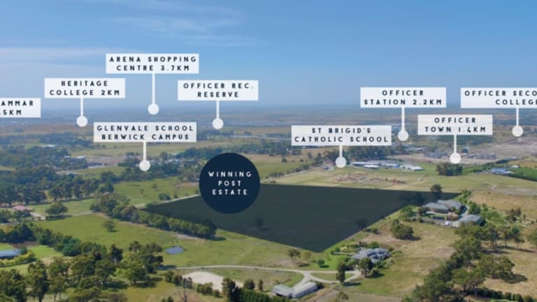 A screenshot of an ad for the planned estate, and the land around it.