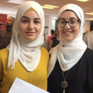 English students, Syrian refugees and sisters Ftoun and Amineh, from Oxford Spires Academy. Ftoun has won national fame in Britain with a poem remembering Damascus.