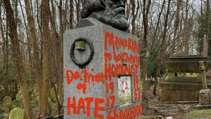Karl Marx's London grave vandalised again, with red paint