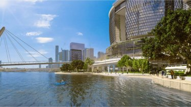 An artist's impression of the new work planned for the Brisbane River's edge at Queen's Wharf.