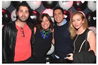 Wolfe Herd in 2014 with Tinder colleagues Justin Mateen (far left) and Sean Rad, and magazine publisher Connie Anne Phillips.