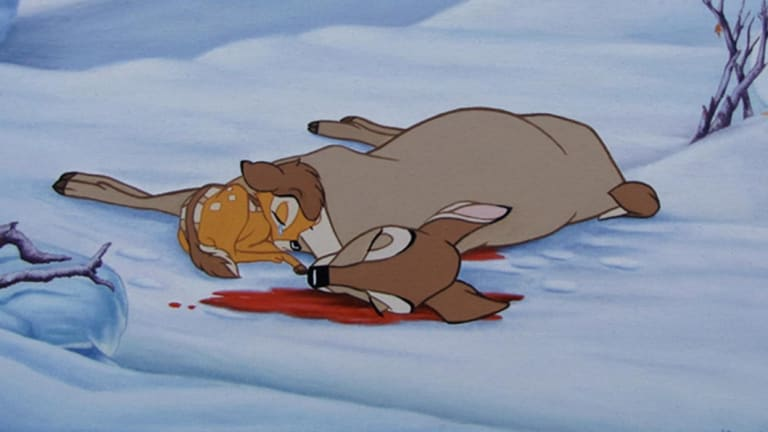 Bambi's mother is shot dead in the 1942 Disney film.