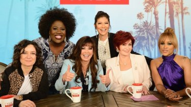 Julie Chen with her The Talk co-hosts (L-R) Sara Gilbert, Sheryl Underwood, special guest Marie Osmond, Sharon Osbourne and Eve.