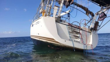 The stricken yacht run aground in the Abrolhos Islands, off the coast of Geraldton.