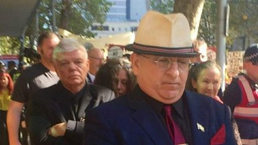 Extremist and online troll Nathan Sykes (front) and chairman of the Australia First party, Jim Saleam (behind).