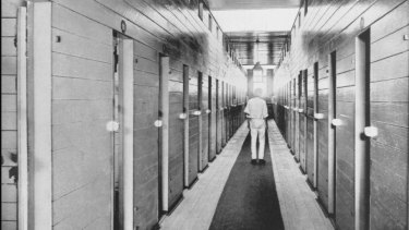 The interior of the St. Helena Prison on the island in Moreton Bay, Queensland, 1914.
