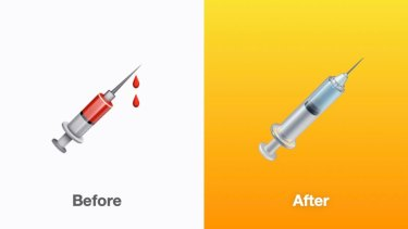 The syringe emoji in the current version of iOS, and the one being introduced in iOS 14.5.