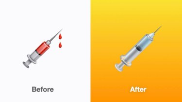 Apple updated the syringe emoji from being filled with donated blood to being filled with a vaccine.