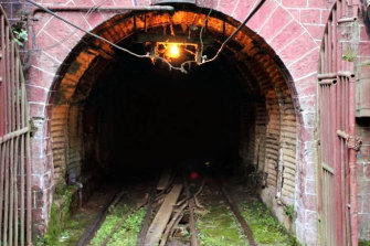 A rail tunnel at the historic Bawdwin mineworks.