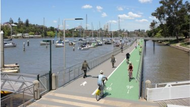 The proposed riverwalk would cater for both cyclists and pedestrians.